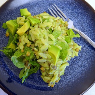 Lemony Avocado Orzo Salad with Lentils