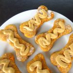 "Sweet Potato Dog Biscuits with Peanut Butter Banana ""Icing"""