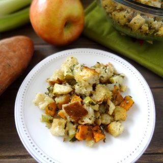 "Stuffing ""Salad"" with Roasted Sweet Potatoes and Tart Apples"