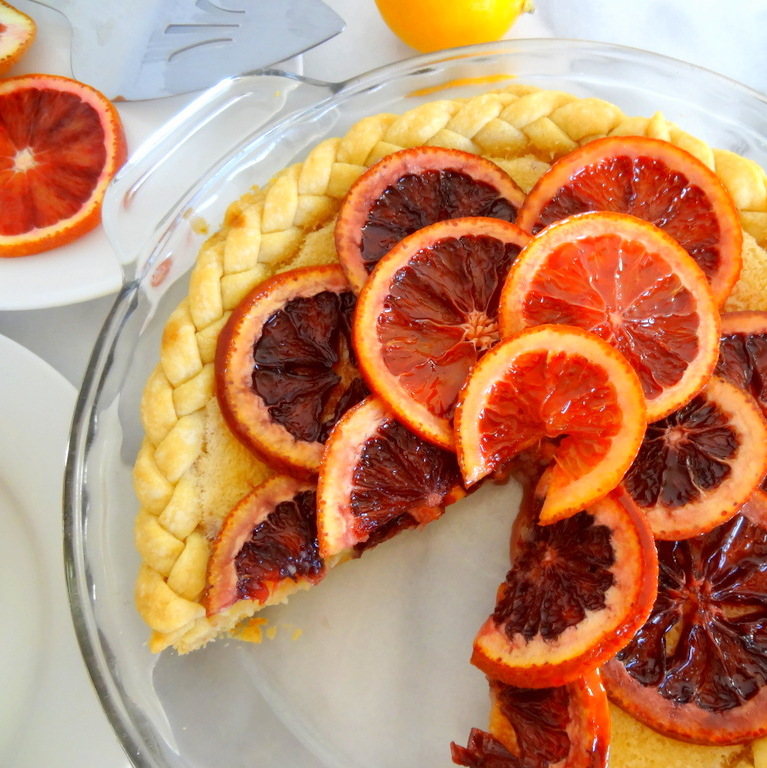 Lemon Chess Pie with Candied Blood Oranges