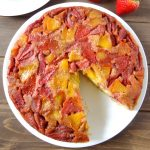 Strawberry Peach Upside-Down Cornbread Cake
