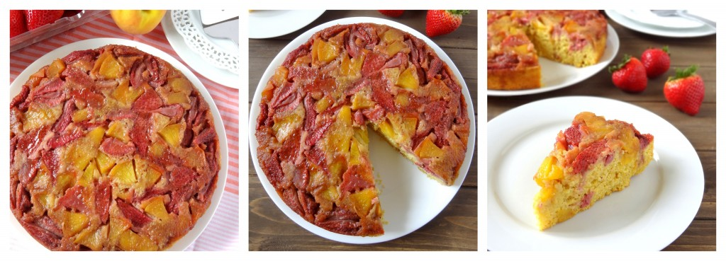 strawberry peach upside-down cornbread cake