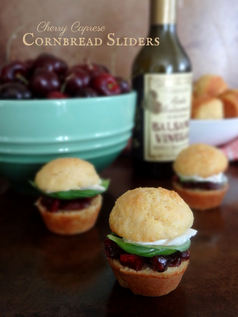 cherry caprese cornmeal sliders