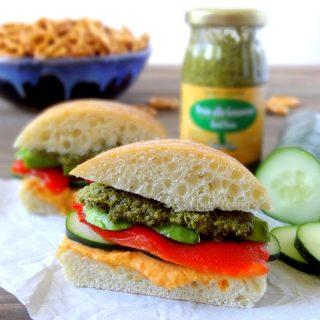 Pesto Hummus Veggie Sandwiches
