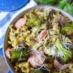Campanelle with Basil Walnut Pesto and Roasted Broccoli