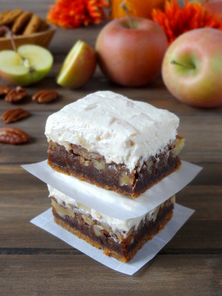 apple maple pecan cheesecake bars