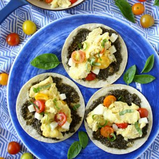 Pesto Caprese Egg Tacos + Third Blogiversary!