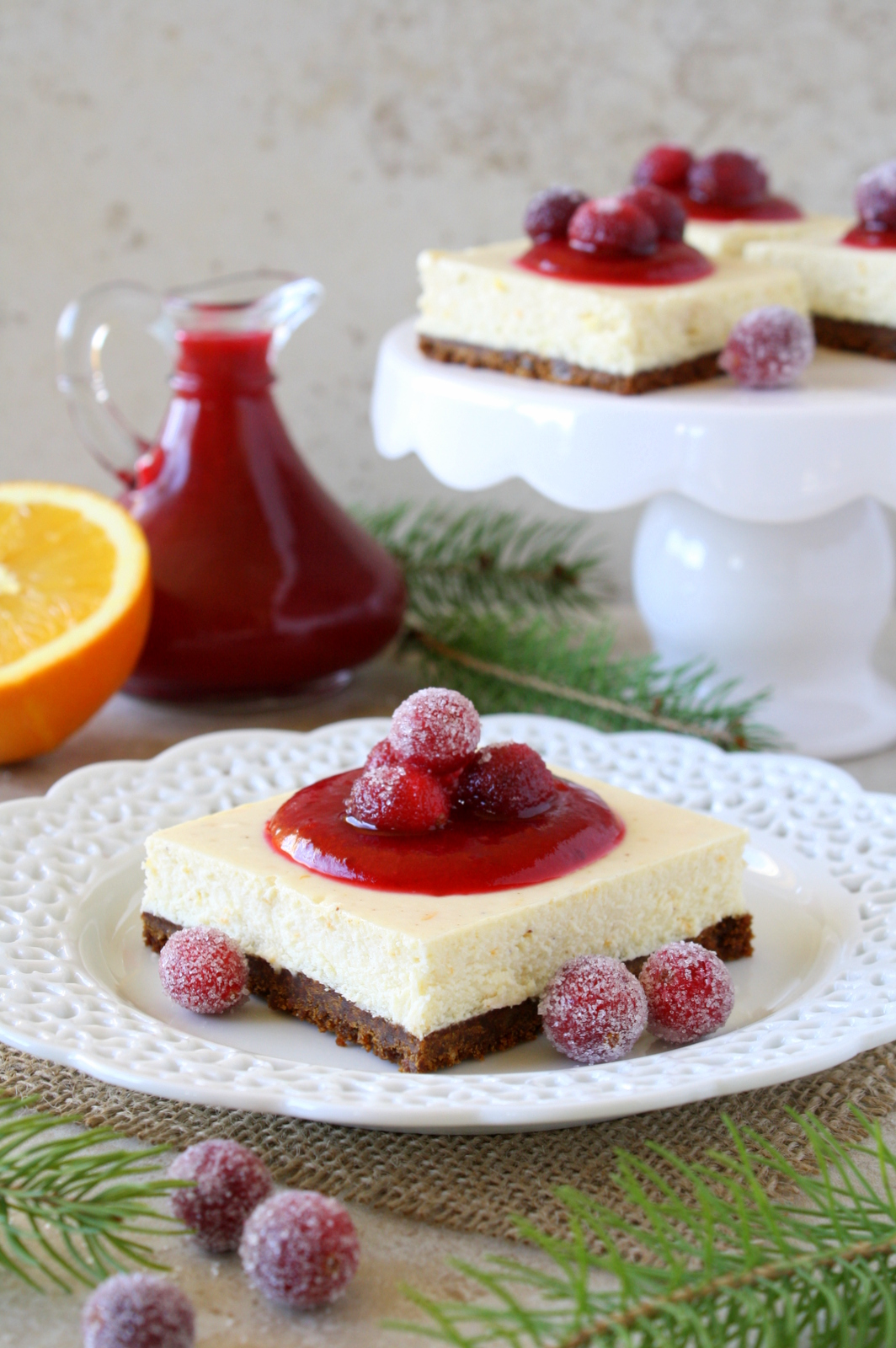 cranberry orange white chocolate cheesecake bars
