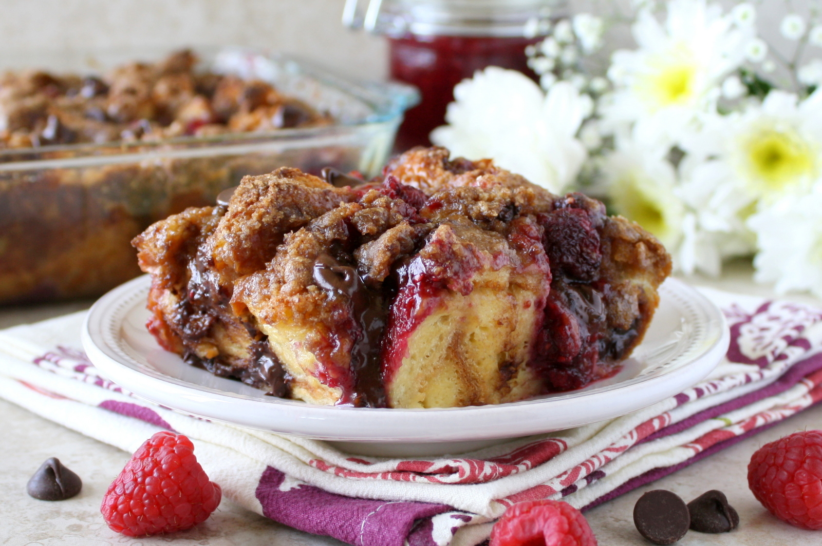 chocolate raspberry French toast casserole