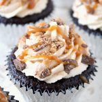 Coffee Toffee Caramel Cupcakes + Fourth Blogiversary!