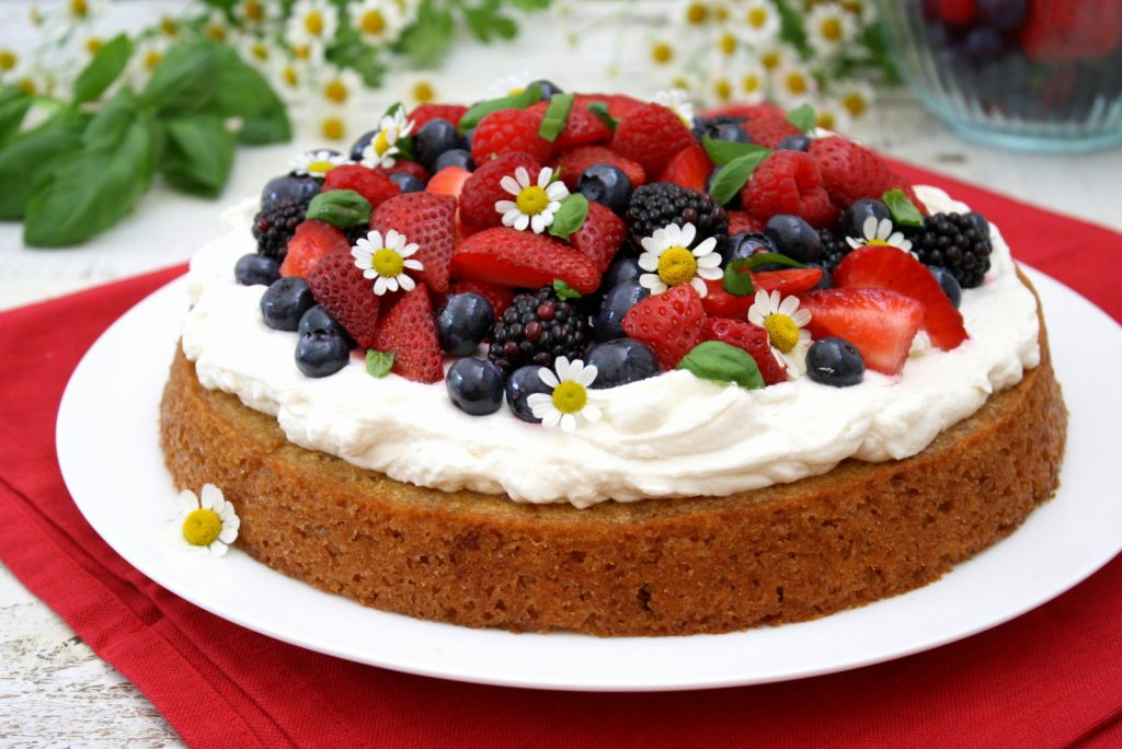 lemon basil cake with berries