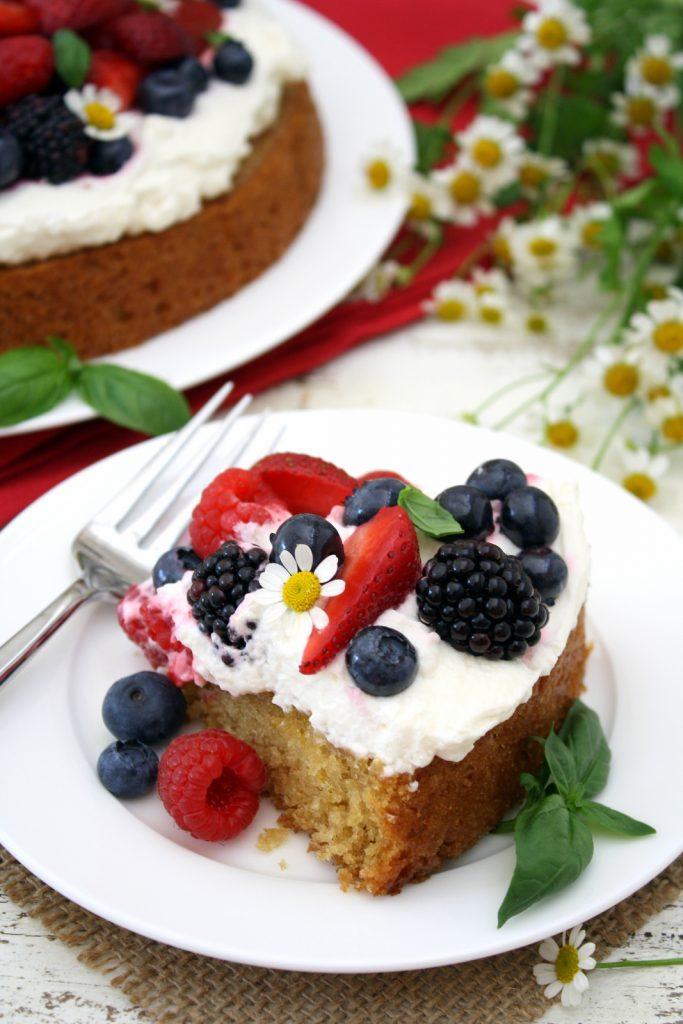 lemon basil cake with berries